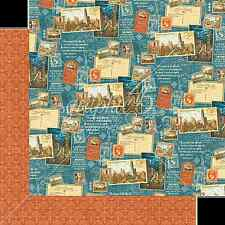 Graphic45 PASSPORT TO THE WORLD 12x12 Dbl-Sided Scrapbooking (2PC) Paper TRAVEL