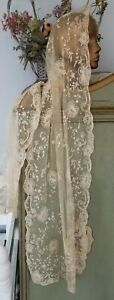 Antique Tambour Lace Embroidered Tulle Bridal Veil Mantilla Banquet Table Runner