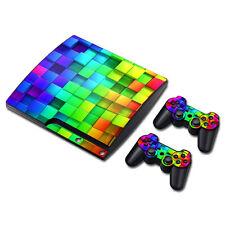 PS3 Slim Playstation 3 Console Skin Decal Sticker Tetris World Custom Design Set