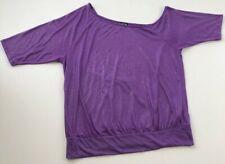 Twist Tees Women's Short Sleeve Blouse Top Sz 1 Purple Metallic Sheen Stretch