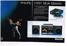 Publicité Advertising 1986 (2 pages) Hi Fi Chaine portable Compact Disc Philips