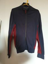 Armani  authentic mens long sleeve top and front zip navy and maroon L slim fit