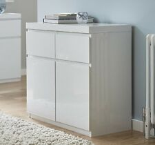NEW Tesco Maine 2 Door 2 Drawer Small High Gloss Sideboard (White)