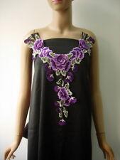 VK540 Tier Floral Collar Front Neck Lace Venise Applique Purple Sew On Dress
