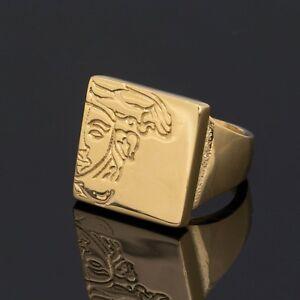 Versace Half Medusa Ring Gold plated Men's jewelry Hip hop fashion US 8 EU 18