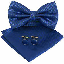 Mens Royal Blue Squares Silk Woven Bow Tie +Hanky & Cuflinks Matching Set 229