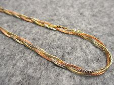 "18"" Tri-Tone Braided Herringbone Chain Necklace Silver Gold & Copper Tones NEW"