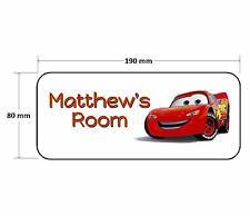 Cars Rayo Mcqueen Personalizado Childrens bedroom Puerta Placa signo Niñas