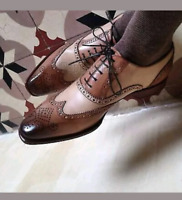 Scarpe brogue in pelle bicolore beige e marrone da uomo fatte a mano con lacci