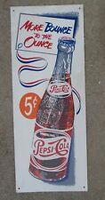 vintage tin litho Pepsi bottle advertising sign