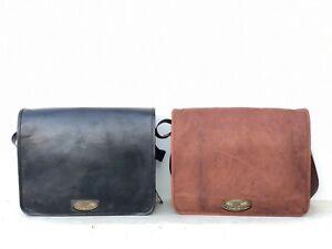 Men's Waxed vintage leather brown black messenger shoulder computer laptop bag .