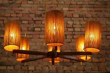 60er DECKENLAMPE Mid Century TEAK KRONLEUCHTER LAMPE PENDANT LAMP Vintage TEMDE