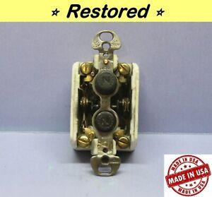 Vintage Push Button Light Switch, Double-Pole DPDT ON-ON (No OFF) Porcelain, H&H