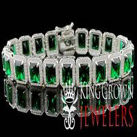 WHITE GOLD STERLING SILVER MENS LADIES LAB DIAMOND GREEN EMERALD CUT BRACELET