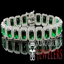 WHITE GOLD STERLING SILVER MENS LADIES LAB DIAMOND GREEN EMERALD CUT BRACELET