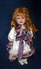 "Vintage Porcelain 16"" Doll 1970's Strawberry Blonde Curls Blue Eyes Pouty!"