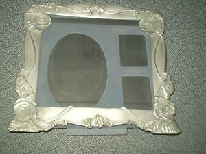 Three Photo Pewter Floral Picture Frame