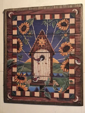 "Birdhouse bird sunflowers floral sun moon rustic country decor wood sign 9x11"""