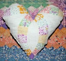 """Heart Pillow From Vintage 1930's Double Wedding Ring Cottage Farmhouse Quilt 12"""""""