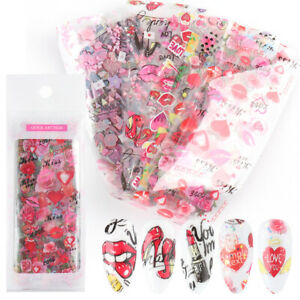 10 pcs 20X4cm Love Heart valentine's day Nail Foil Transfer Decals Manicure