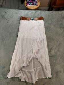 BCX Women's L/XL White Hi-Lo Skirt Prairie Boho Hippie Gauze Ruffled w/Belt