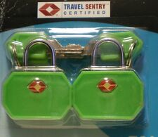 "NEW ""PASSAGE 2"" TSA TRAVEL LOCKS - SET OF 2 KEYED - BRIGHT GREEN"