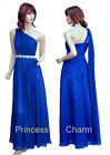 Blue Black Evening Bridesmaids Dress Formal Gown One Shoulder Plus Size 20-8