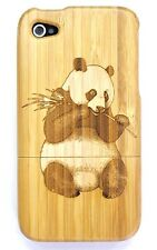 iPhone SE 4/4s Bamboo Wood Case ( Panda Laser Engraving ) 100% Wood Cover✔️
