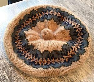 Vintage Pom Pom Hat Beige Blue Knit Tam O'shanter Hansen #387