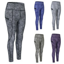Women's Tights Print Yoga Sports Pants Side Pocket Fitness Running Trousers