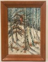 "Oil Painting on Board Winter Forest Landscape Signed Framed Art  (17"" x 12.5"")"