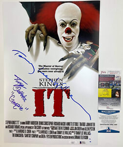 TONY DAKOTA & TOMMY LEE WALLACE signed 12x18 Movie Poster IT 1990 Pennywise JSA