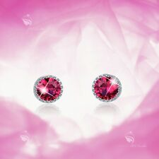 925 sterling silver earrings screw back baby girl stud rose red solitaire