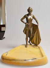 Bronzefigur auf Marmorsockel Badende Frankreich um 19 Jh.