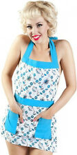 67033 Teal Blue White Tea Donuts Apron Sourpuss Teapots Retro Sweets Food Kitsch