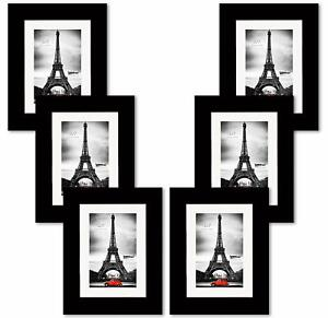 Studio 500~Value 6 Pack, 5 by 7-inch Real Wood Picture Frames w/Mat 4x6 in BW