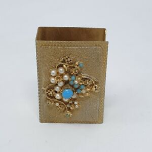 Vintage 1970's  Brass Matchbox Cover with Faux Pearl and Stone Embellishment