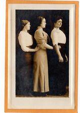 Studio Real Photo Postcard RPPC - Three Women in Profile Standing in Row
