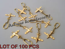 Vintage Nautical Brass Maritime Amazing Airplane Key Chain Lot Of 100 Pcs Gift..