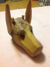 Hand-carved wooden Log Dog Head Interesting Piece