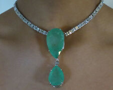 Estate 18k white gold 82 cts Colombian Emerald & 7.25cts diamond Choker necklace