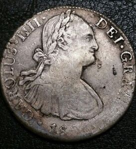 1800 TH Mexico 8 Reale King Charles IV US Colonial Silver Bust Dollar Error Coin