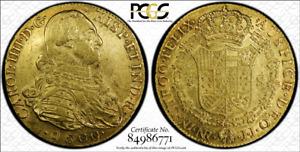 G019 COLOMBIA over date 1800/0081-JJ 8 Escudos gold, Bogota mint PCGS AU58