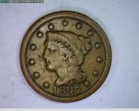 1847 Braided Hair Large Cent 1c  old penny( # 70s80 )