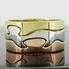 Genuine Solid 9K Yellow Rose White Gold Engagement Wedding Interlock 3 Rings Set