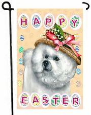 Bichon Frise Easter Garden Flag patio decor Dog Art Outdoor decorative painting