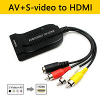 Composite 3RCA SVideo AV To HDMI 1080P Audio Adapter With Micro USB For HDTV DVD