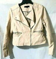 Steve Madden moto asymmetrical zip faux leather jacket cream size L Blush/Ivory