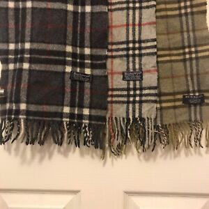 3 Vintage Burberrys Scarfs Black Grey Green Nova Check Lambswool Authentic