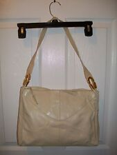 Vintage White Lou Taylor hand bag purse with mirror made in Italy leather